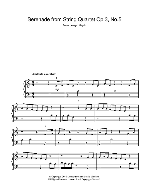 Franz Joseph Haydn Serenade For Strings Op. 3 No. 5 sheet music notes and chords