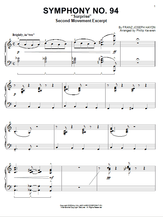 Download Franz Joseph Haydn 'The Surprise Symphony' Digital Sheet Music Notes & Chords and start playing in minutes