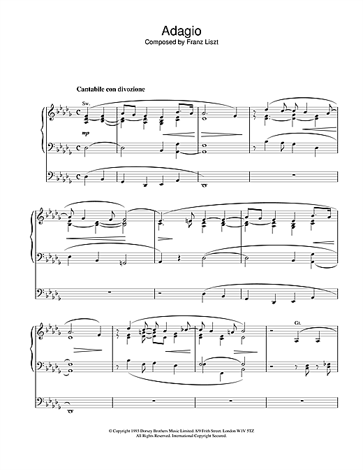 Franz Liszt Adagio sheet music notes and chords