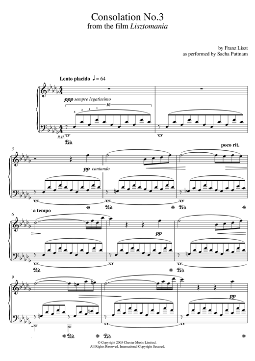 Download Franz Liszt 'Consolation No.3 In D Flat (as performed by Sacha Puttnam)' Digital Sheet Music Notes & Chords and start playing in minutes