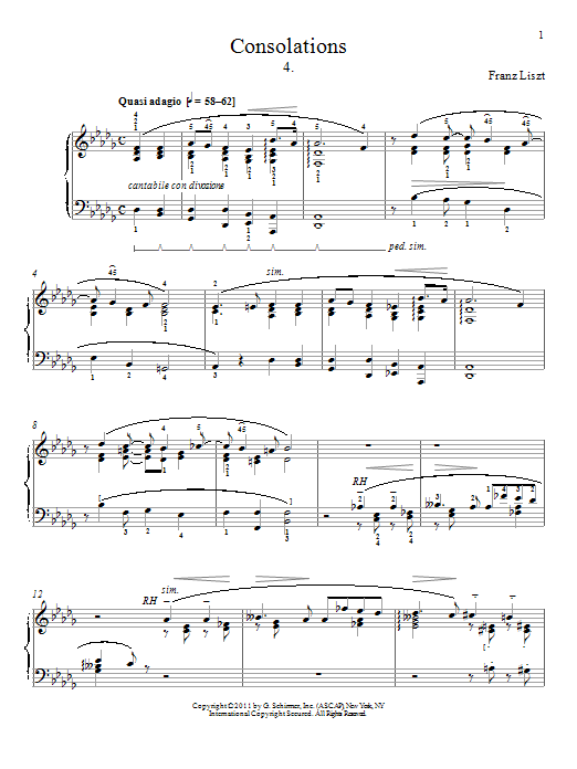 Franz Liszt Consolation No. 4 sheet music preview music notes and score for Piano including 2 page(s)