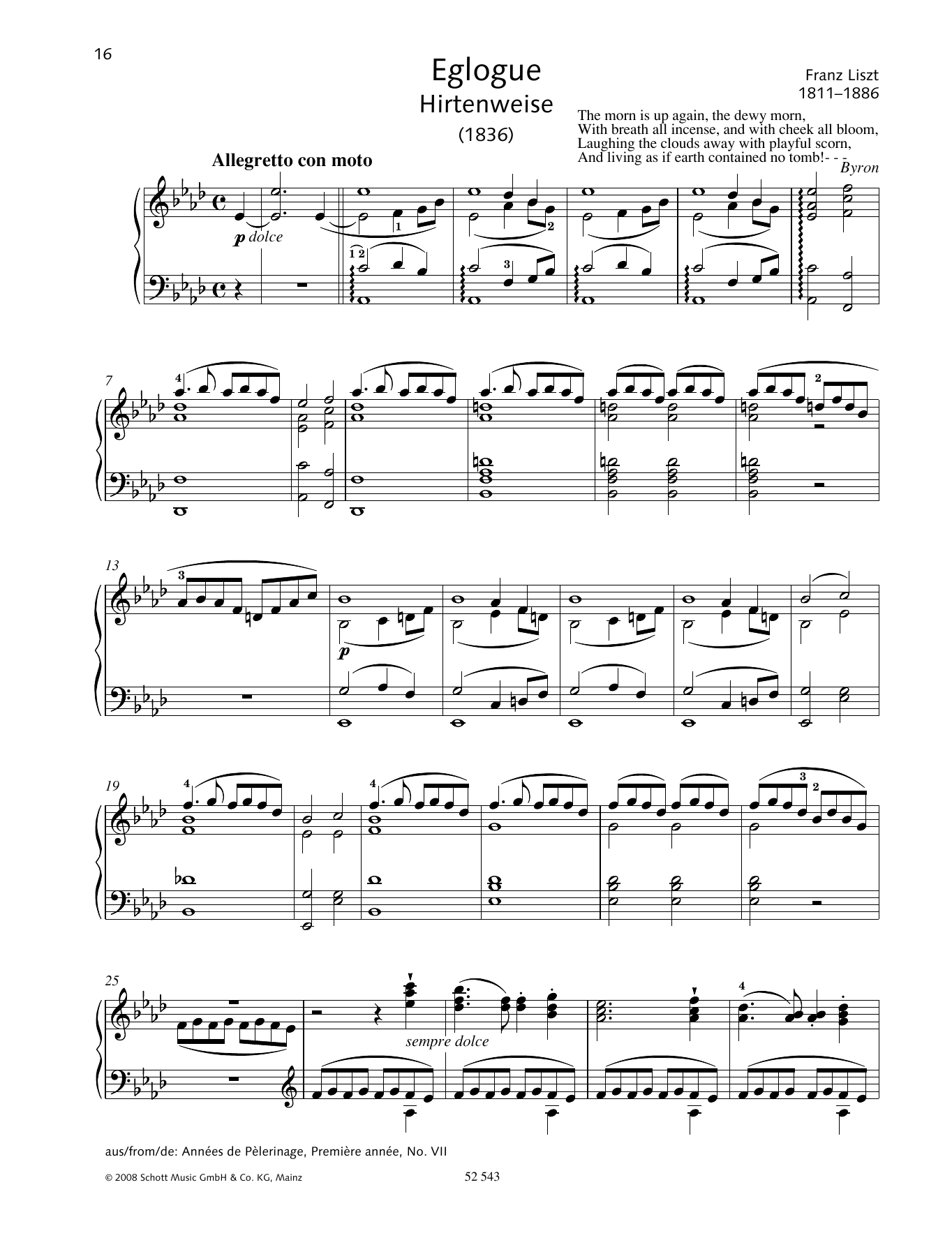 Franz Liszt Eglogue (Hirtenweise) sheet music preview music notes and score for Piano Solo including 4 page(s)