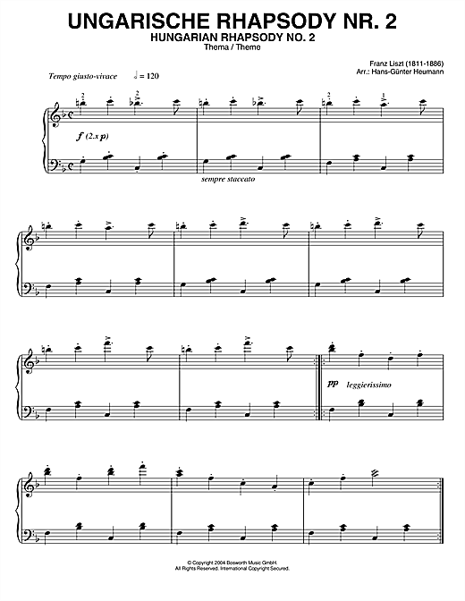 Franz Liszt Hungarian Rhapsody (Ungarische Rhapsody) No.2 sheet music notes and chords