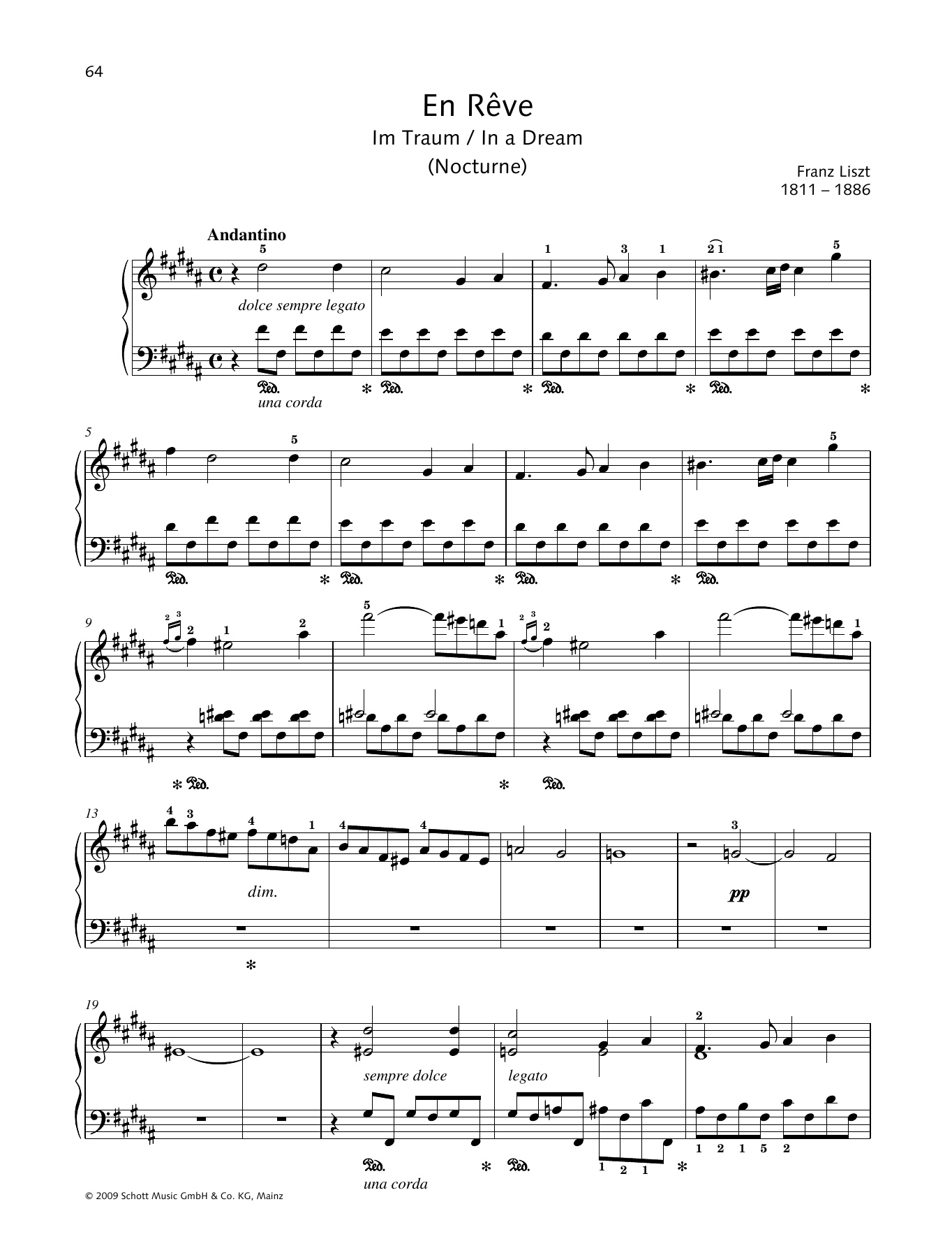 Franz Liszt In a Dream sheet music preview music notes and score for Piano Solo including 2 page(s)