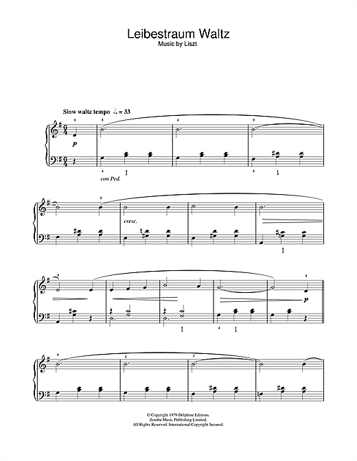 Franz Liszt Liebestraume sheet music notes and chords