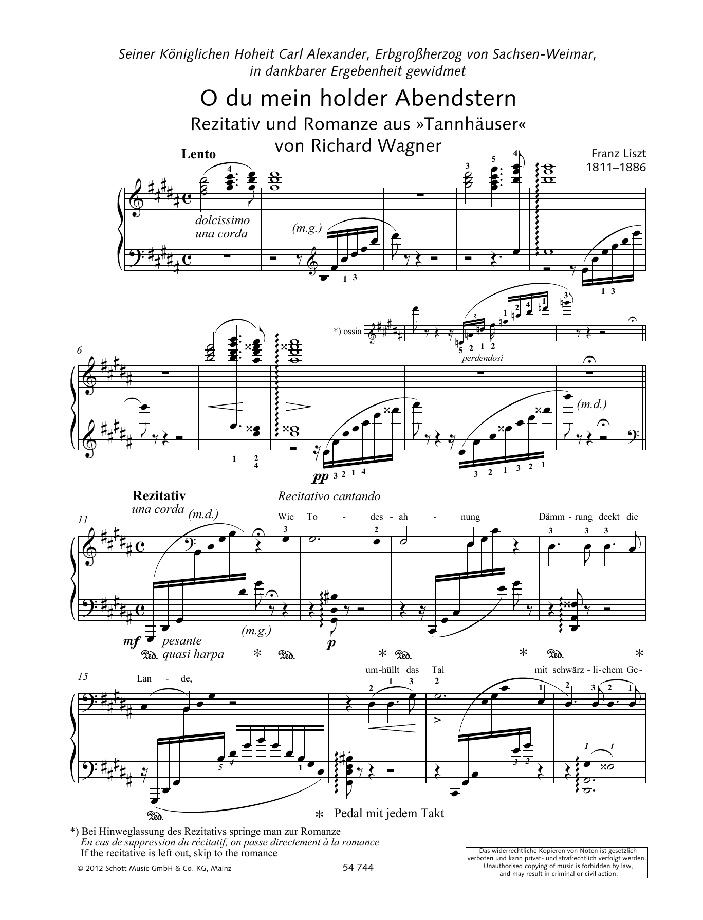 Franz Liszt O thou beloved evening star sheet music preview music notes and score for Piano Solo including 6 page(s)