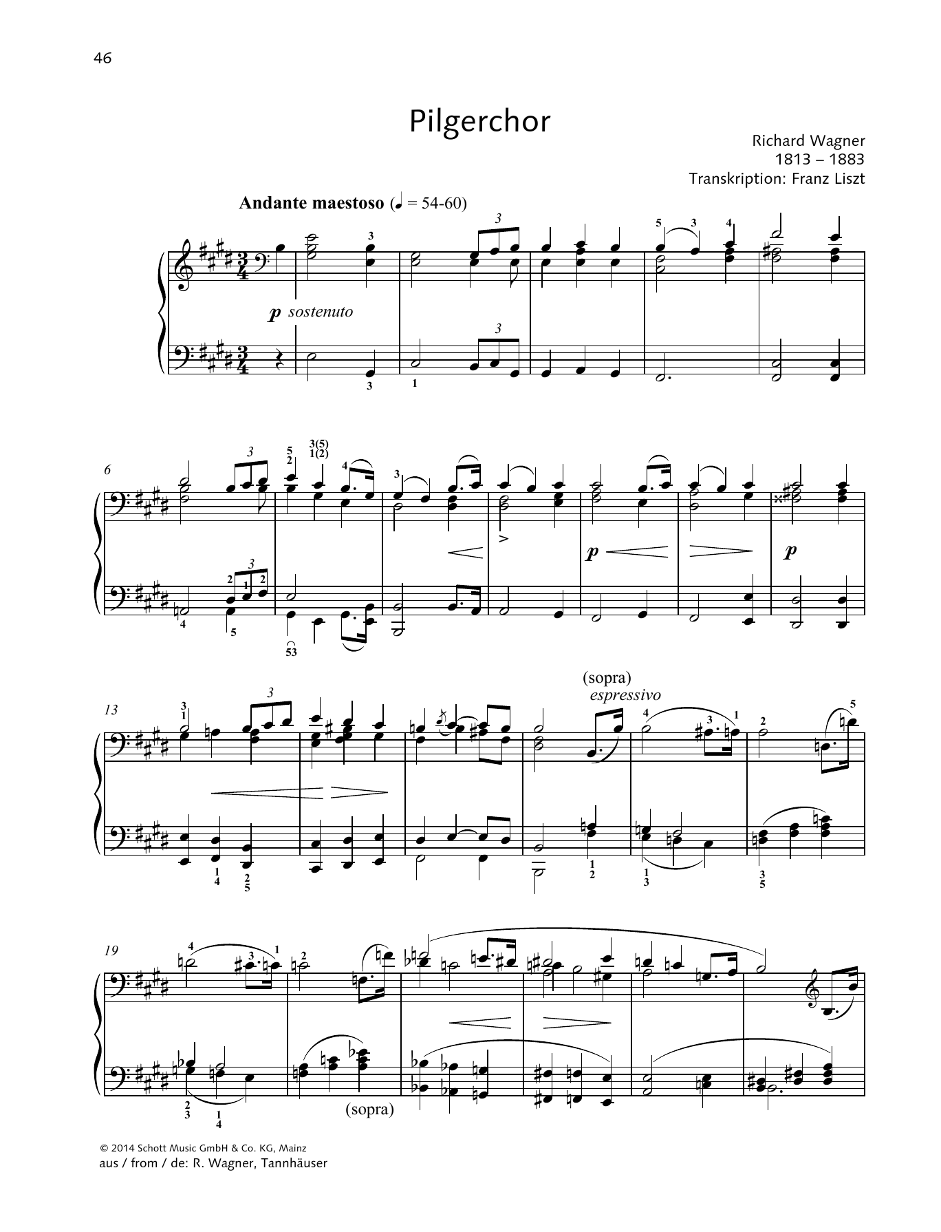 Franz Liszt Pilgerchor sheet music preview music notes and score for Piano Solo including 7 page(s)