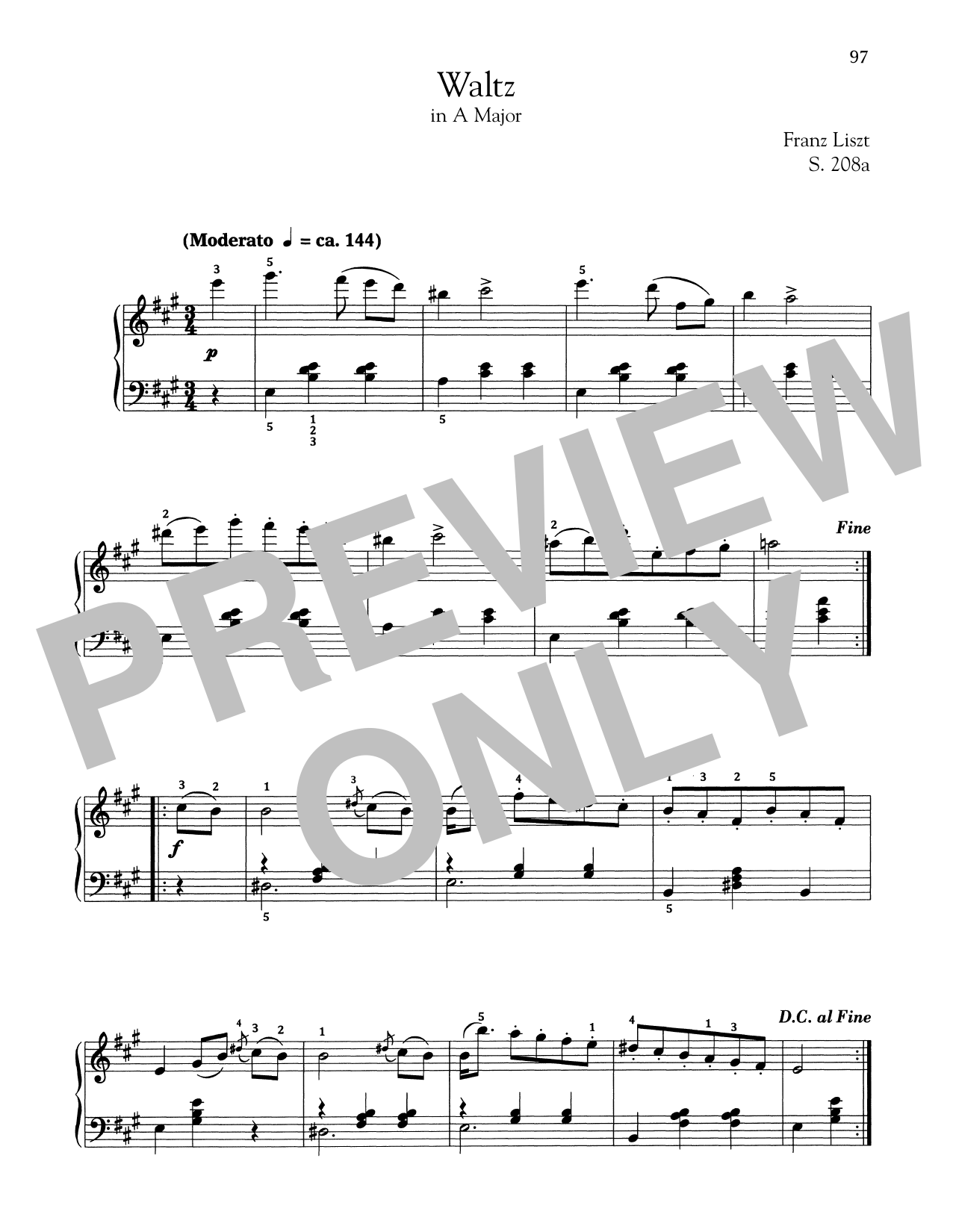 Download Franz Liszt 'Waltz In A Major, S. 208a' Digital Sheet Music Notes & Chords and start playing in minutes