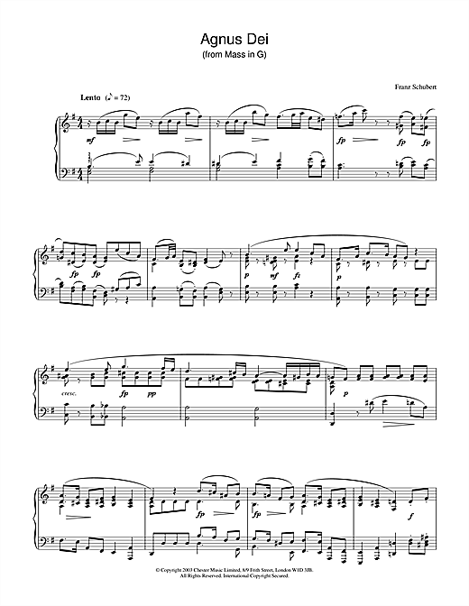 Download Franz Schubert 'Agnus Dei' Digital Sheet Music Notes & Chords and start playing in minutes