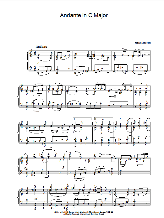 Franz Schubert Andante in C Major sheet music preview music notes and score for Piano including 2 page(s)