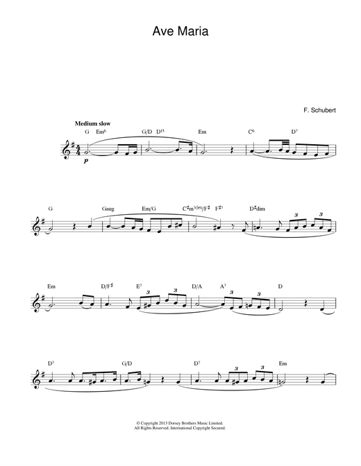 Franz Schubert Ave Maria sheet music notes and chords