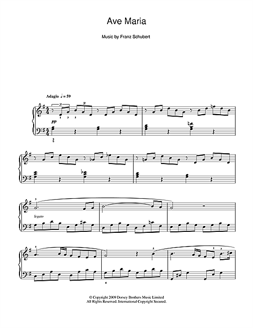 Franz Schubert Ave Maria sheet music preview music notes and score for Piano including 3 page(s)