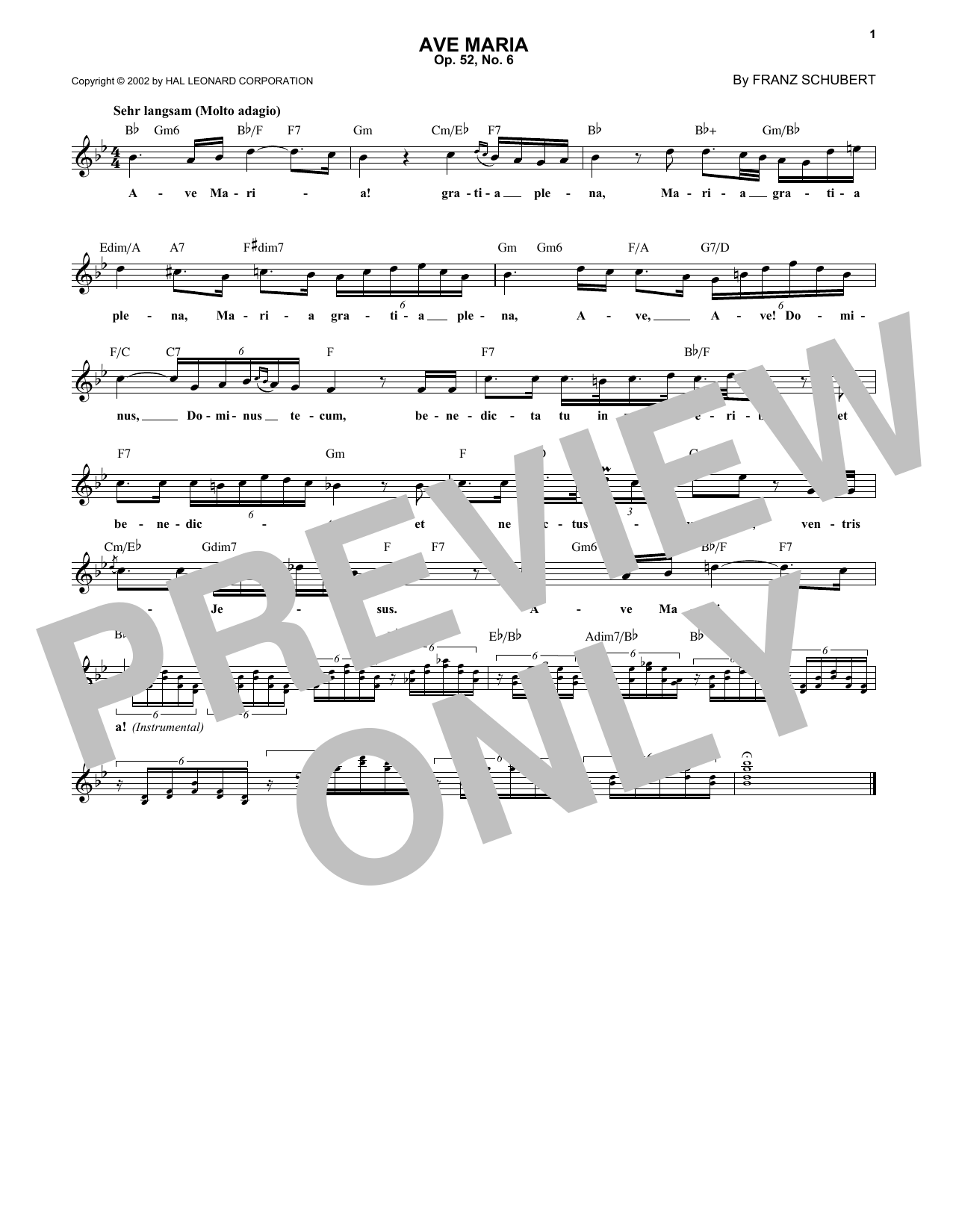 Franz Schubert Ave Maria, Op. 52, No. 6 sheet music preview music notes and score for Violin and Piano including 4 page(s)
