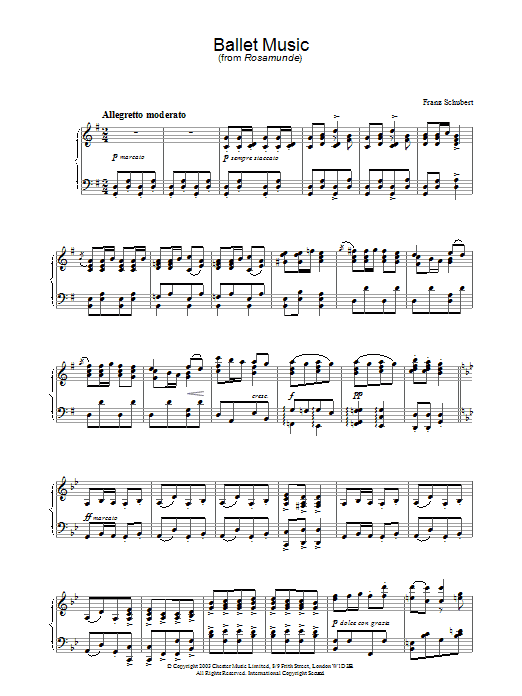 Franz Schubert Ballet Music in G (from 'Rosamunde') sheet music preview music notes and score for Piano including 4 page(s)