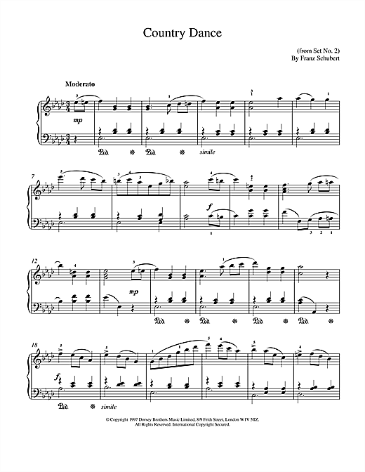 Download Franz Schubert 'Country Dance' Digital Sheet Music Notes & Chords and start playing in minutes