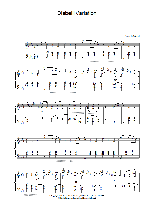Franz Schubert Variation on a Waltz by Diabelli, D.718 sheet music preview music notes and score for Piano including 2 page(s)