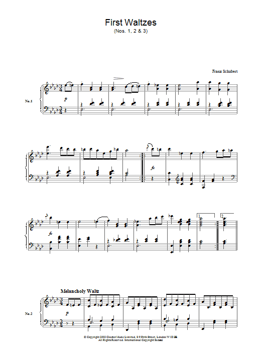 Franz Schubert First Waltzes (Nos. 1, 2 & 3) sheet music preview music notes and score for Piano including 2 page(s)
