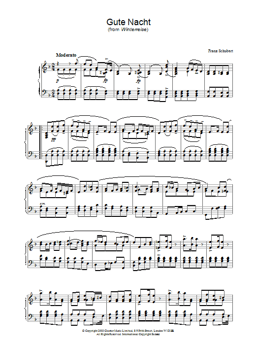 Franz Schubert Gute Nacht (from 'Winterreise') sheet music preview music notes and score for Piano including 2 page(s)