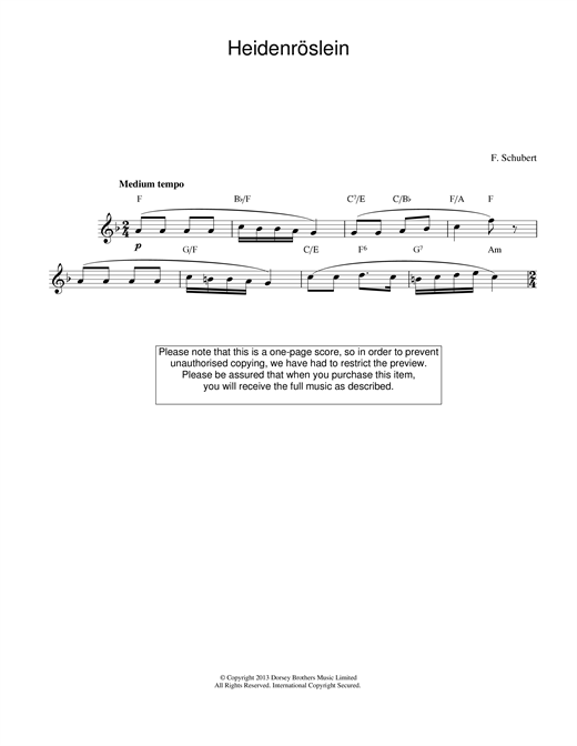 Franz Schubert Heidenroslein sheet music preview music notes and score for Piano Duet including 2 page(s)