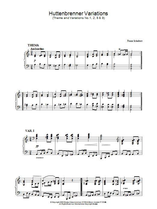 Franz Schubert Huttenbrenner Variations (Theme and Variations Nos. 1, 2, 8 & 9) sheet music preview music notes and score for Piano including 4 page(s)