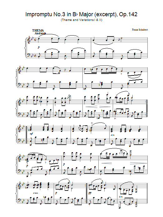 Franz Schubert Impromptu No. 3 in B Flat Major (excerpt), Op.142 sheet music preview music notes and score for Piano including 4 page(s)