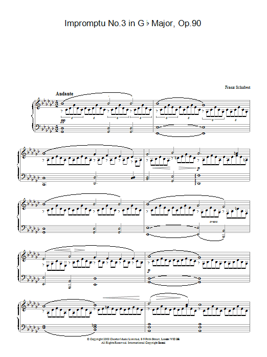 Franz Schubert Impromptu No. 3 in G Flat Major, Op.90 sheet music preview music notes and score for Piano including 8 page(s)