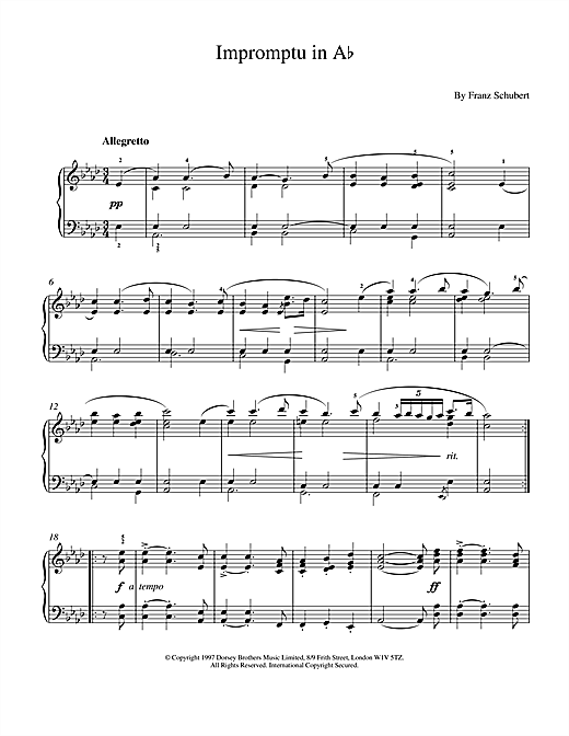 Franz Schubert Impromptu No. 2 in A Flat Major (excerpt), Op.142 sheet music notes and chords