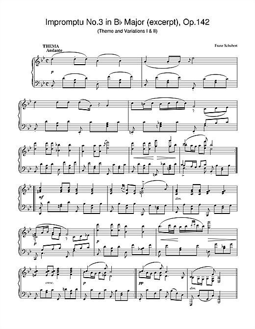 Download Franz Schubert 'Impromptu No.3 in B Flat Major (excerpt), Op.142' Digital Sheet Music Notes & Chords and start playing in minutes