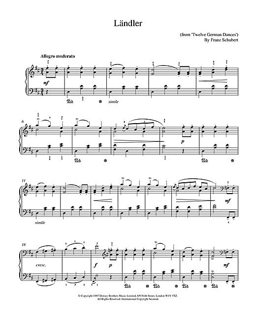 Download Franz Schubert 'Landler' Digital Sheet Music Notes & Chords and start playing in minutes