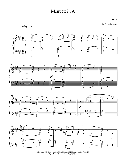 Download Franz Schubert 'Menuett In A' Digital Sheet Music Notes & Chords and start playing in minutes
