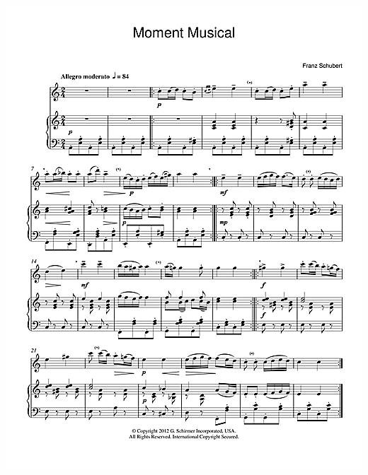 Download Franz Schubert 'Moment Musical' Digital Sheet Music Notes & Chords and start playing in minutes