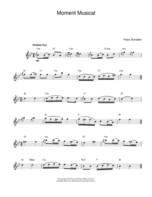 Franz Schubert Moments Musicaux, No.3, Op.94 sheet music preview music notes and score for Piano including 2 page(s)