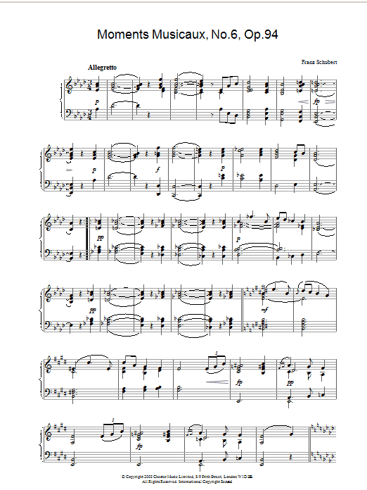 Franz Schubert Moments Musicaux, No.6, Op.94 sheet music preview music notes and score for Piano including 3 page(s)
