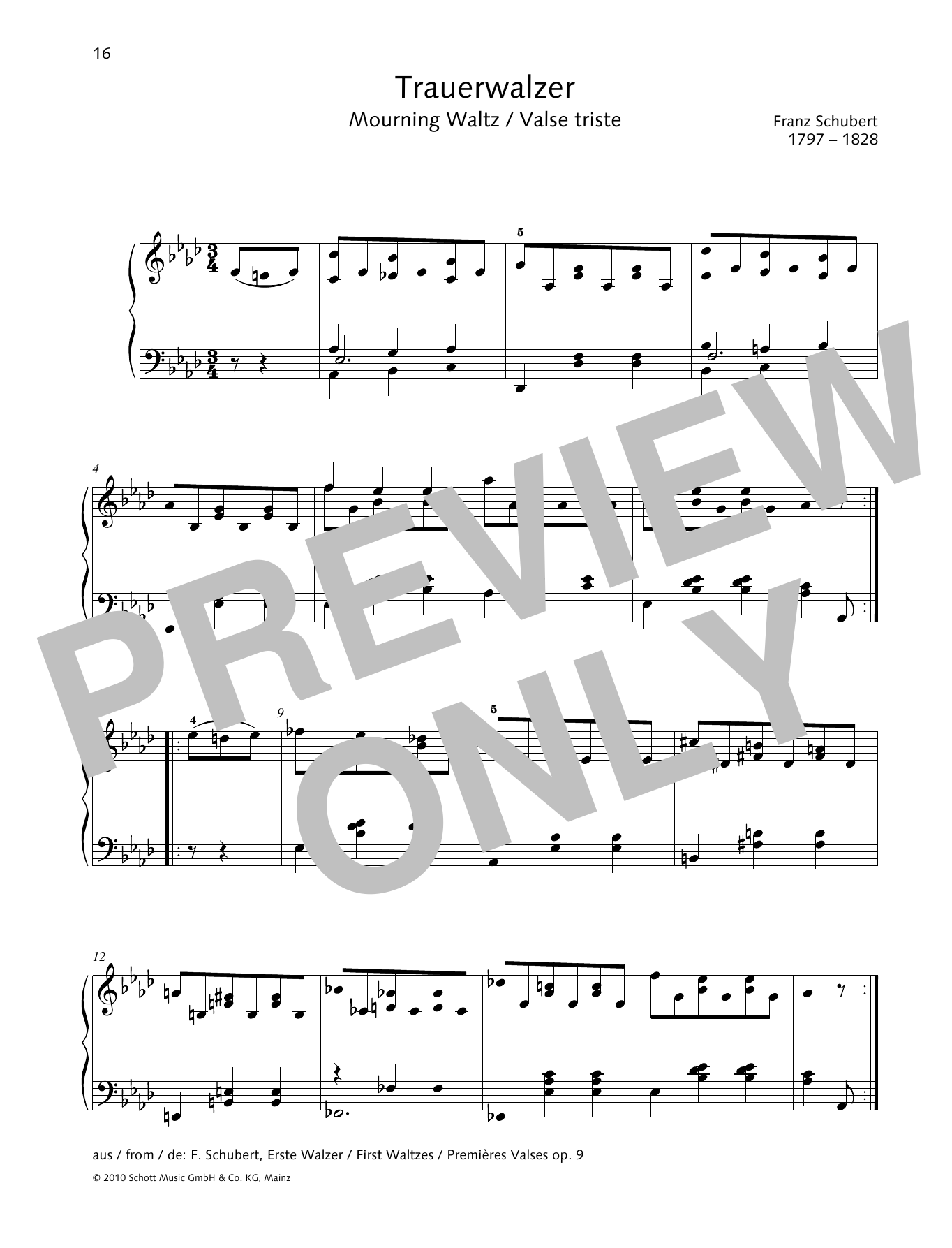 Franz Schubert Mourning Waltz sheet music preview music notes and score for Piano Solo including 1 page(s)