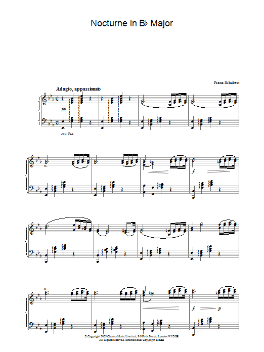 Franz Schubert Nocturne in E Flat Major sheet music preview music notes and score for Piano including 2 page(s)