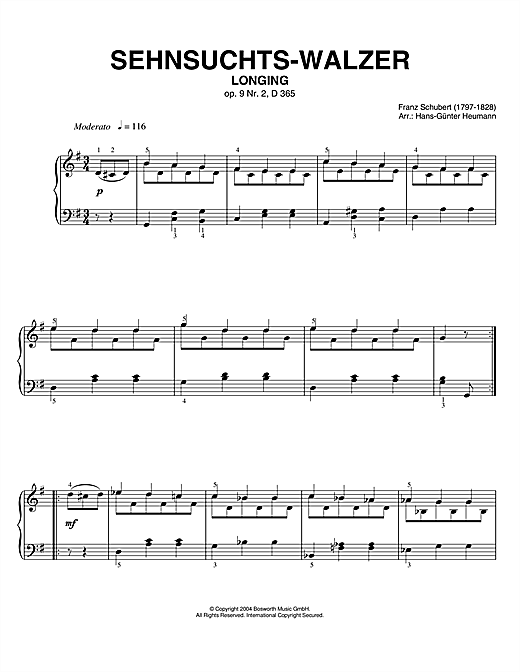 Download Franz Schubert 'Sehnsuchts-Walzer (Longing), Op.9, No.2, D365' Digital Sheet Music Notes & Chords and start playing in minutes