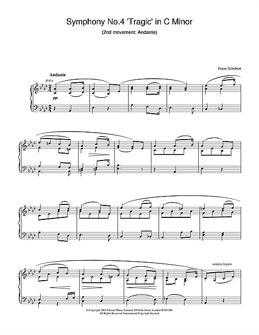 Download Franz Schubert 'Symphony No.4 'Tragic' in C Minor - 2nd Movement: Andante' Digital Sheet Music Notes & Chords and start playing in minutes