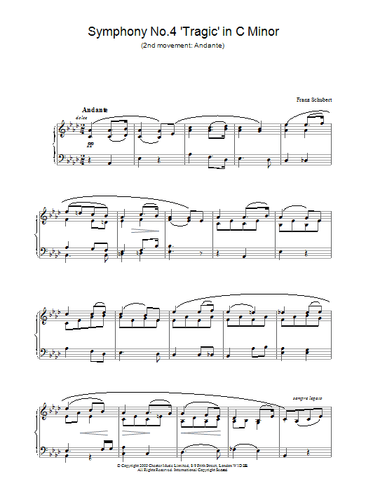 Franz Schubert Symphony No.4 'Tragic' in C Minor - 2nd Movement: Andante sheet music preview music notes and score for Piano including 2 page(s)