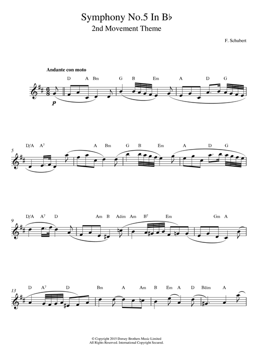 Download Franz Schubert 'Symphony No.5 in B Flat Major - 2nd Movement: Andante con moto' Digital Sheet Music Notes & Chords and start playing in minutes