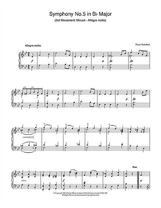 Download Franz Schubert 'Symphony No.5 in B Flat Major - 3rd Movement: Minuet - Allegro molto' Digital Sheet Music Notes & Chords and start playing in minutes