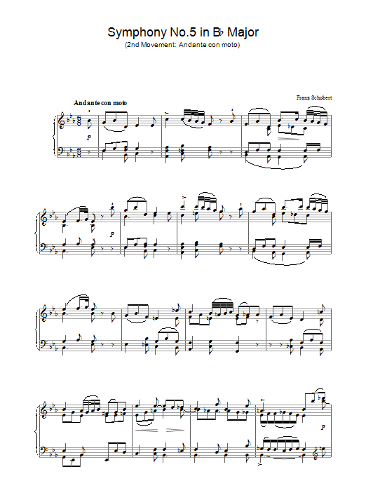 Franz Schubert Symphony No.5 in B Flat Major - 2nd Movement: Andante con moto sheet music preview music notes and score for Piano including 2 page(s)