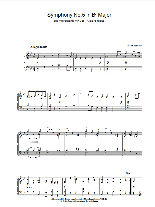 Franz Schubert Symphony No.5 in B Flat Major - 3rd Movement: Minuet - Allegro molto sheet music preview music notes and score for Piano including 2 page(s)