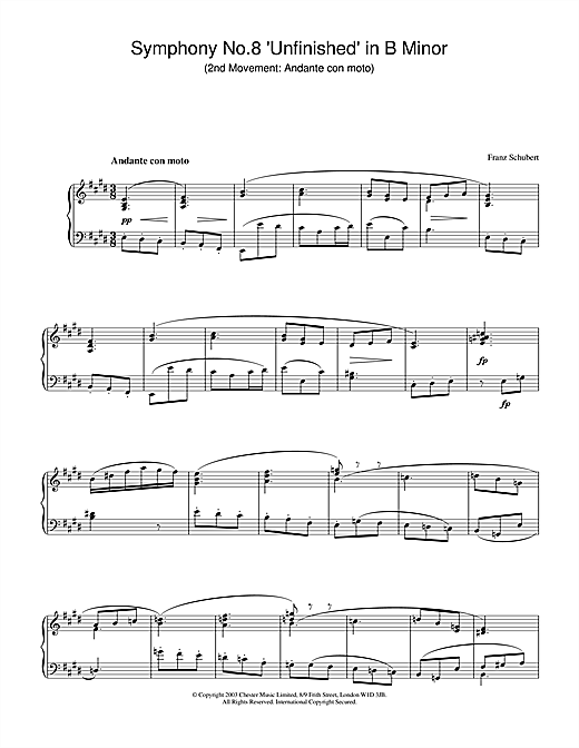 Download Franz Schubert 'Symphony No.8 'Unfinished' in B Minor - 2nd Movement: Andante con moto' Digital Sheet Music Notes & Chords and start playing in minutes