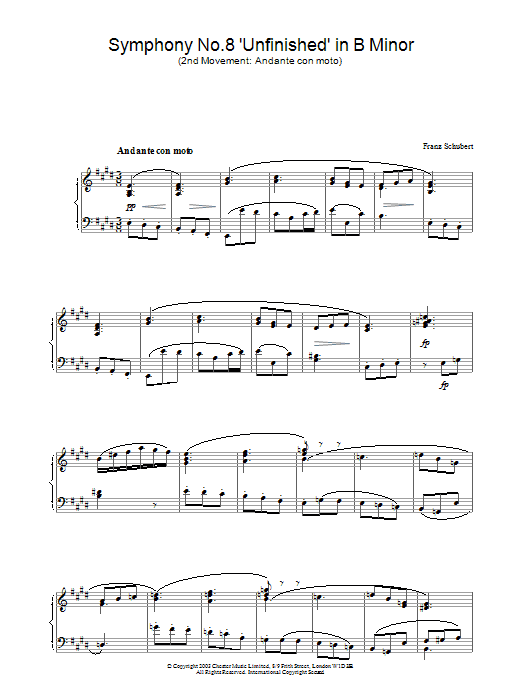 Franz Schubert Symphony No.8 'Unfinished' in B Minor - 2nd Movement: Andante con moto sheet music preview music notes and score for Piano including 2 page(s)