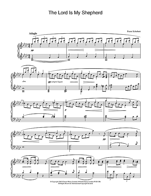 Download Franz Schubert 'The Lord Is My Shepherd' Digital Sheet Music Notes & Chords and start playing in minutes