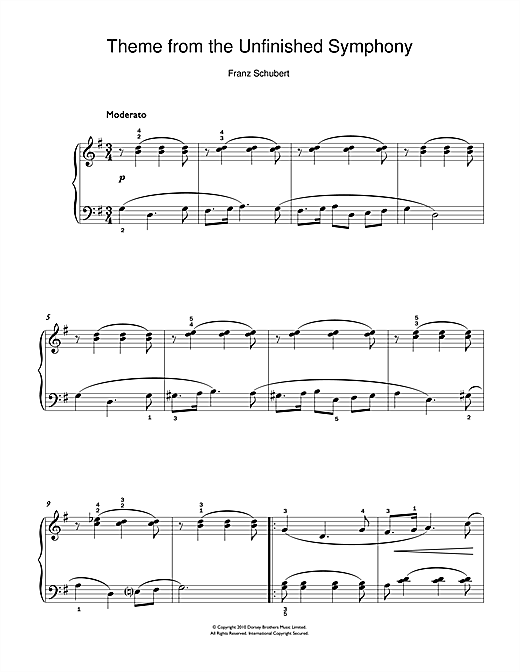 Franz Schubert Theme From The Unfinished Symphony sheet music notes and chords