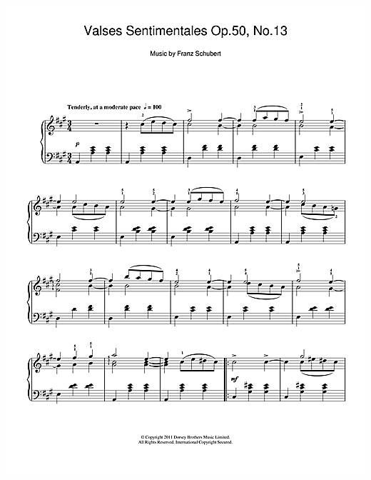 Download Franz Schubert 'Valses Sentimentales, Op.50 No.13' Digital Sheet Music Notes & Chords and start playing in minutes