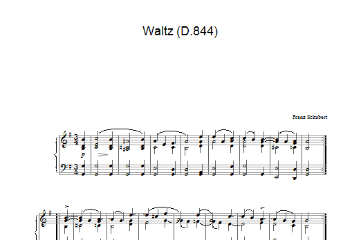 Franz Schubert Waltz In G Major, D.844 sheet music preview music notes and score for Piano including 2 page(s)
