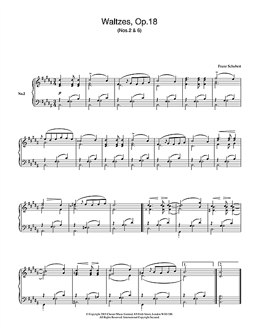 Download Franz Schubert 'Waltzes Op.18, No.2 & No.6' Digital Sheet Music Notes & Chords and start playing in minutes