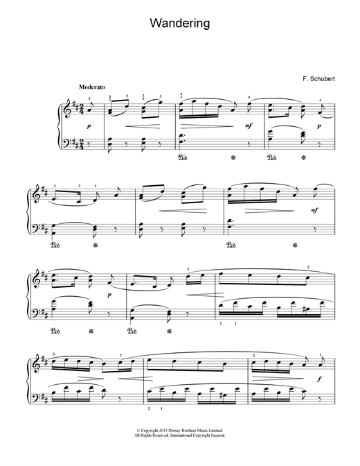 Download Franz Schubert 'Wandering' Digital Sheet Music Notes & Chords and start playing in minutes